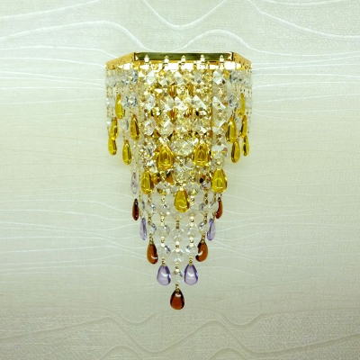 Luxury Gold Finish and Two Tiers of Crystals Drops Embellished Wall Washer in Contemporary Style