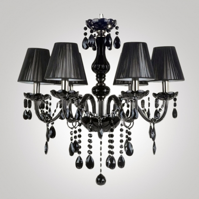 Majestic and Bold Jet Black Crystal Drops Bell Black Shade 23.6