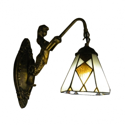 Mermaid Down Lighting Art Glass Wall Sconce with Antique Brass Brushed Base