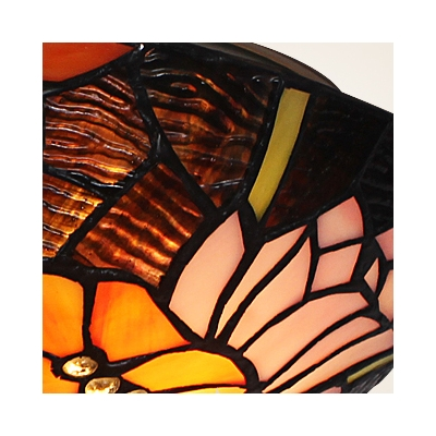 Mesmerizing Black Tiffany Two Lights Flush Mount Ceiling Light with Dragonflies Pattern