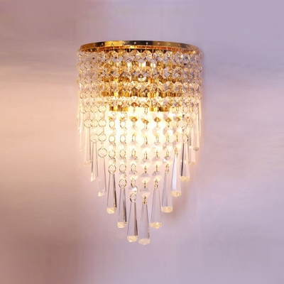 Shimmering Strands of  Clear Crystal Hang From Wall Scone with Gold Finish