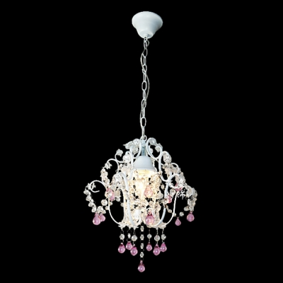 Soft and Romantic White Finished Frame Hanging Pink Crystal Raindrops 11.8