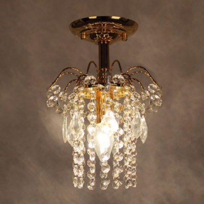 Splendid Semi Flush Mount Light Completed with Luxury Gold Finish and Strings of Crystal Beads