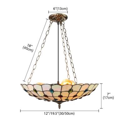 Tiffany Style Full-Sized/Large Pendant Light with Upward Bowl Peacock-Beaded Shade