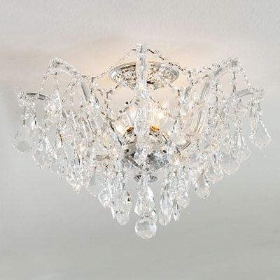Timeless Semi-flush Ceiling Light Features Shimmering Clear Hand Cut Crystal Beads Bring out Beauty