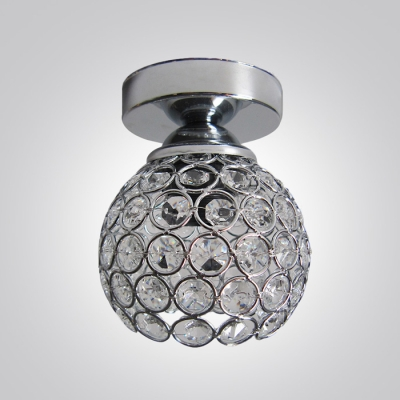Wonderfully Bowl Shade Crystal Beads Embedded Semi-Flush Mount in Chrome Finish