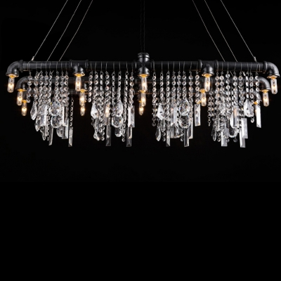 Iron Bar with Crystal Droplet Vintage Linear Pendant Chandelier 15-Light