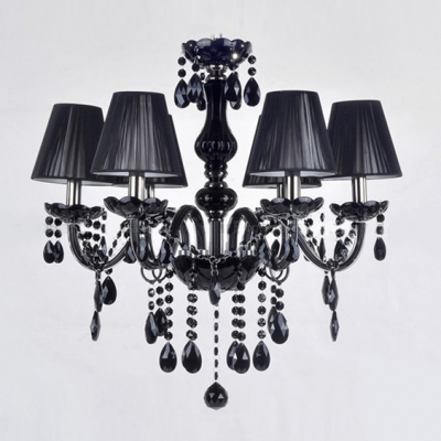 6-Light Gorgeous Black Crystal Droplets Chic and Majestic Black Chandelier