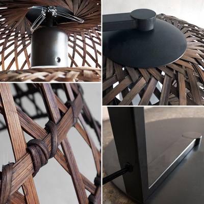 "64.9""High Wooden Fish Net Shaded Designer Floor Lamps"