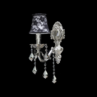 Amazing Black and White Flower Detailing Fabric Shade Add Charm to Chic Traditional Wall Sconce with Crystal Drops