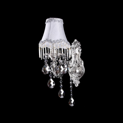 Attractive Wall Light Fixture Offers Graceful Silver Finish and White Fabric Shade Perfect for Living Room