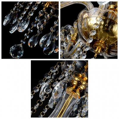 Beautiful Five Lights Crystal Accented Golden Luxurious Chandelier for Living Room