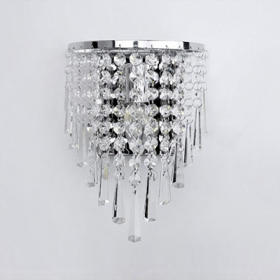 Beautiful Polished Chrome Banding Offers Gleaming Finish for Contemporary Crystal Wall Sconce