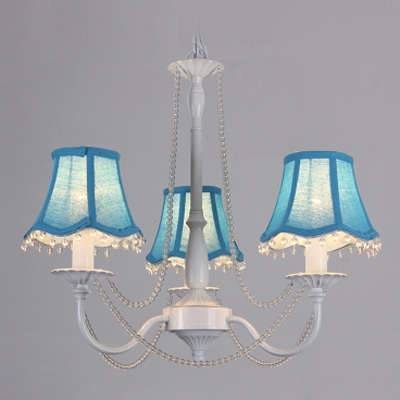Beautiful Three Colorful Fabric Shades Pairs with White Finish Made Lovely Mini Chandelier