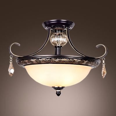 Black Wrought Iron Curving Arms Amber Crystal Globe and Droplets Semi Flush  Mount - Fashion Style Close To Ceiling Lights, Semi-flush Mount Crystal