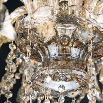 Brown Faceted Crystal Droplets and Chains Waterfall Chrome Finished Chandelier