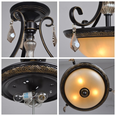 Classic and Graceful Scavo Glass Bowl Shade Large Pendant Hanging Amber Crystals