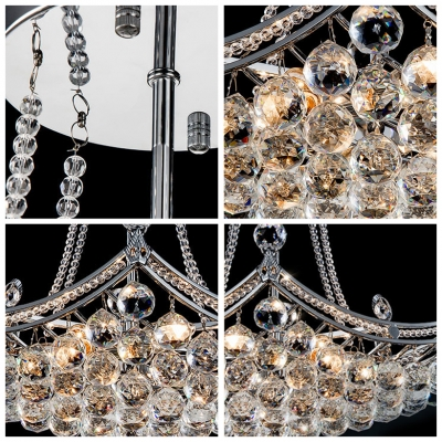 Corona Style Cluster of Crystal Globes Chrome Finished Semi-Flush Mount Ceiling Light