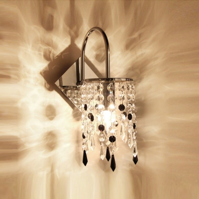 Crystal Column Wall Sconce Rich in Detailing and Adorned with Hand-polished Crystals