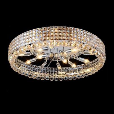 Crystal Diamond Beads Embedded Metal Shade Hanging Crystal Balls Flush Mount
