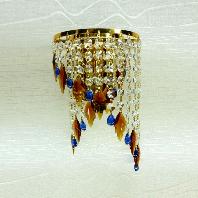 Dazzling Contemporary One-light Wall Sconce Featuring Luxury Gold Finish and Beautiful Crystal Beads
