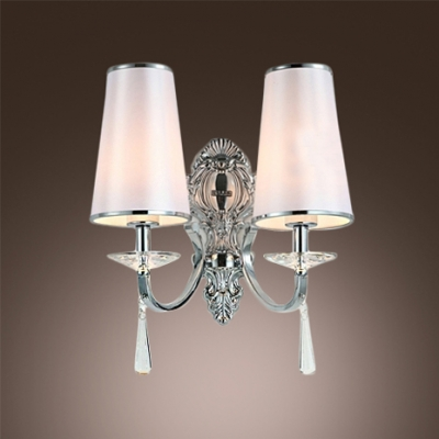 Delicate Back Plate and White Empire Fabric Shade with Black Edging Add Charm to Wall Sconce