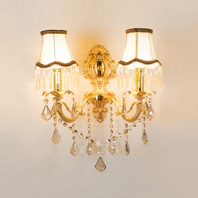 Elegant Two Light Wall Sconce Featured Scrolling Arms and Beautiful White Fabric Shades