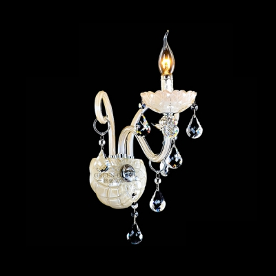 Elegant Wall Light Fixture Completed with Fabric Bell Shade and Clear Lead Crystal Droplets
