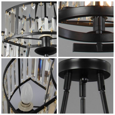 Faceted Crystal Prisms 3-Light Black Wrought Iron Frame Whimsical Chandelier