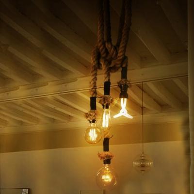 four light hemp rope led hanging pendant