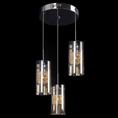 Gleaming Crystal Multi Light Pendant Features Chic Cylinder Glass Shades Creating Modern Embellishment