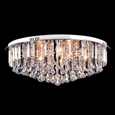 Gorgeous Amber Crystal Diamonds Hang Together Crystal Beads and Prisms Accented Flush Mount