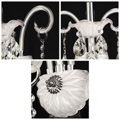 Graceful Curving Arms and Elegant White Finish Add Charm to Delightful Single Light Crystal  Wall Sconce