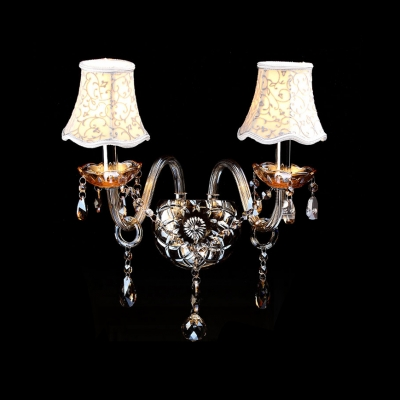Graceful Two Light Wall Sconce Completed with Grand Ivory Fabric Shades HL360101 фото