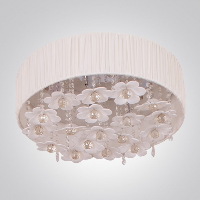 Gracefully Stainless Steel Canopy Floral Details Crystal Beads and Balls Flush Mount
