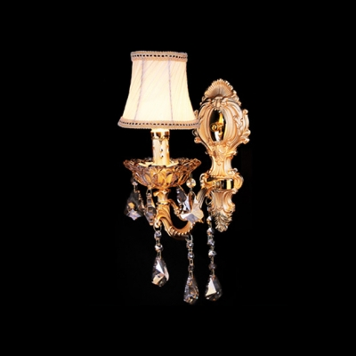 Grand Wall Light Fixture Offers Decorative Gold Back Plate and Beige Fabric Shade