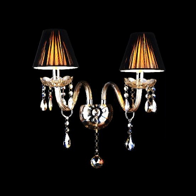 Grand Wall Sconce Completes with Scrolling Arms and Beautiful Crystal Drops