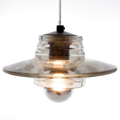 "Baycheer / Lid Shaped Pressed Clear Glass Designer Pendant Light for Dining Room 8"" Wide"
