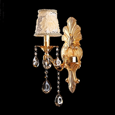 Luxurious Wall Sconce Offers Gold Flower Detailing Fabric Shade and Lead Phoenix Feather Crystal Drops