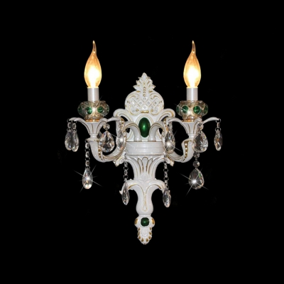 Luxury Curvaceous Eruopean Stely Two Light Lead Crystal Wall Sconce