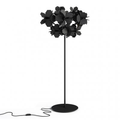 Mysterious Modern Black Flower Covered Floor Lamp