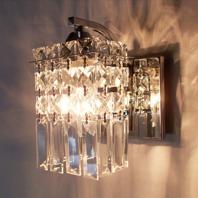 Polished Chrome Finish Wall Light Sconce Accented with a Column of ...