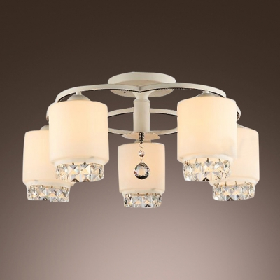 Smashing Five Lights Sparkling Crystals Decorated Living Room Flush Mount Ceiling Light