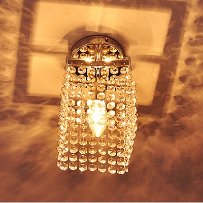 Sparkling Crystal Square Shade And Polished Chrome Finish Add Charm to Stunning Semi Flush Ceiling Light