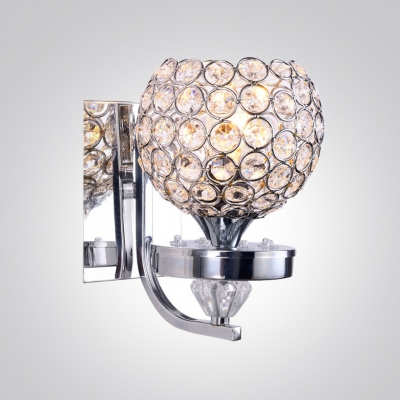 Sparkling Single Light Wall Sconce Adorned With Beautiful Crystal - Single light bathroom sconce