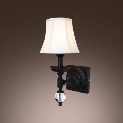 Striking Wall Sconce with Beige Fabric Shade Features  Beautiful Wrought Iron And Crystal