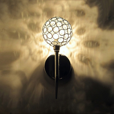 Stunning Contemporary Style Wall Sconce Features Globe Design and Polished Chrome Finish