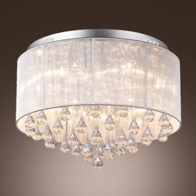 Nice Stunning Crystal Teardrops Hang Together 6 Light Contemporary Style Flush  Mount Lighting