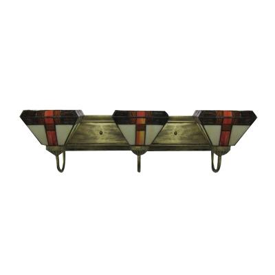Tiffany Style Bronze Finish Bath Bar with Three Exotic Shades