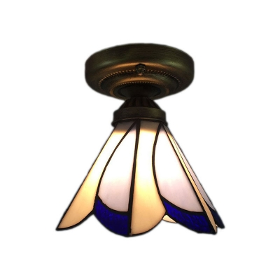 Купить со скидкой Tiffany Style Flush Mount Ceiling Light with White and Blue Petal Shade